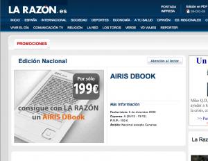 Hacia la popularización de los e-readers: La Razón vende el Airis DBook por cupones