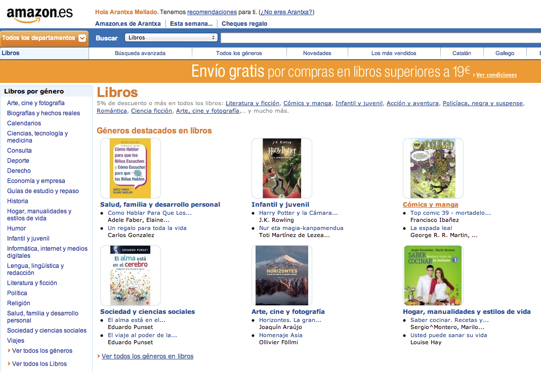 Amazon estrena portal en espa a for Libreria amazon