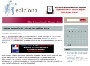 """Edición y distribución de contenidos en formato digital: dos recomendaciones del """"Informe sobre el libro digital en Francia"""""""