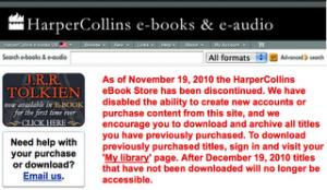 HarperCollins cierra su portal de venta de libros digitales