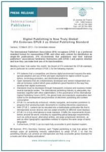 La Unión Internacional de Editores recomienda el EPUB 3 como estándar de publicación