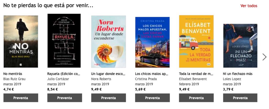 Kobo_sección de preventa de libros